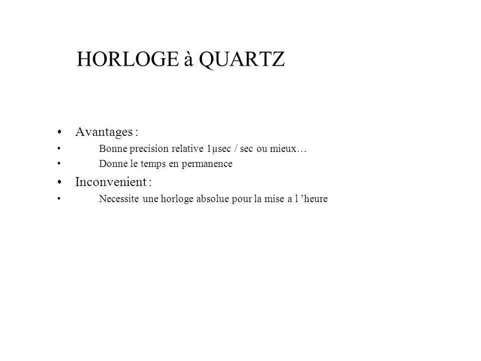 HORLOGE à QUARTZ Avantages : Inconvenient :