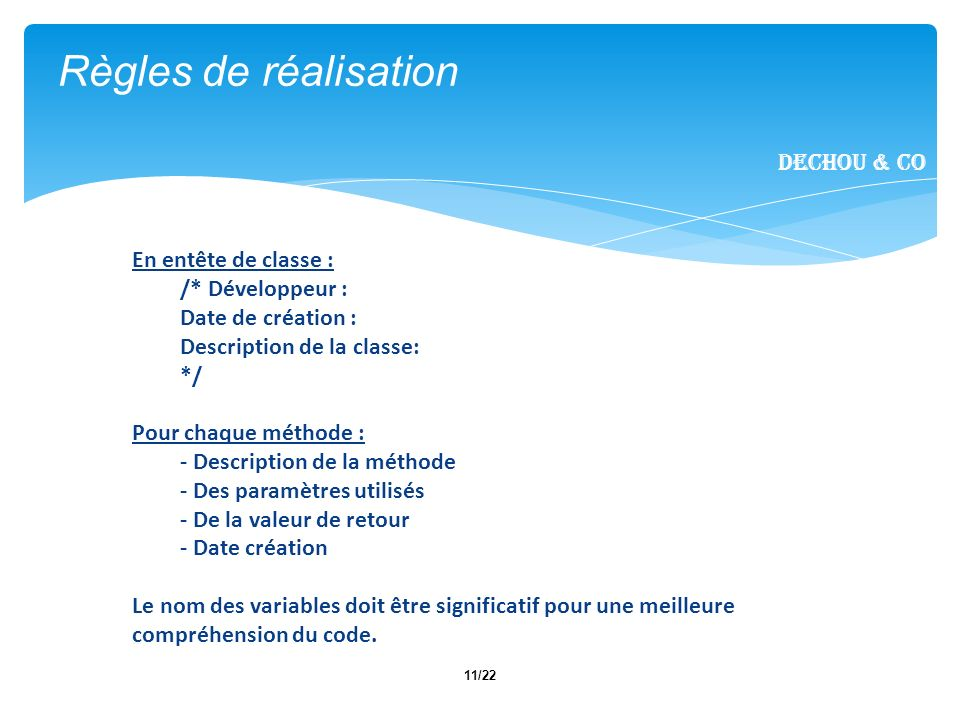 Règles de réalisation Dechou & CO En entête de classe :