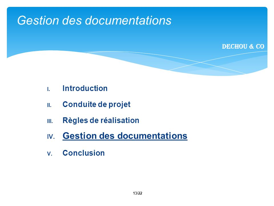 Gestion des documentations