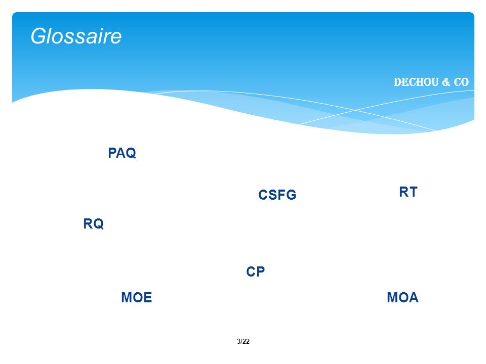 Glossaire PAQ RT CSFG RQ CP MOE MOA Dechou & CO Notes :
