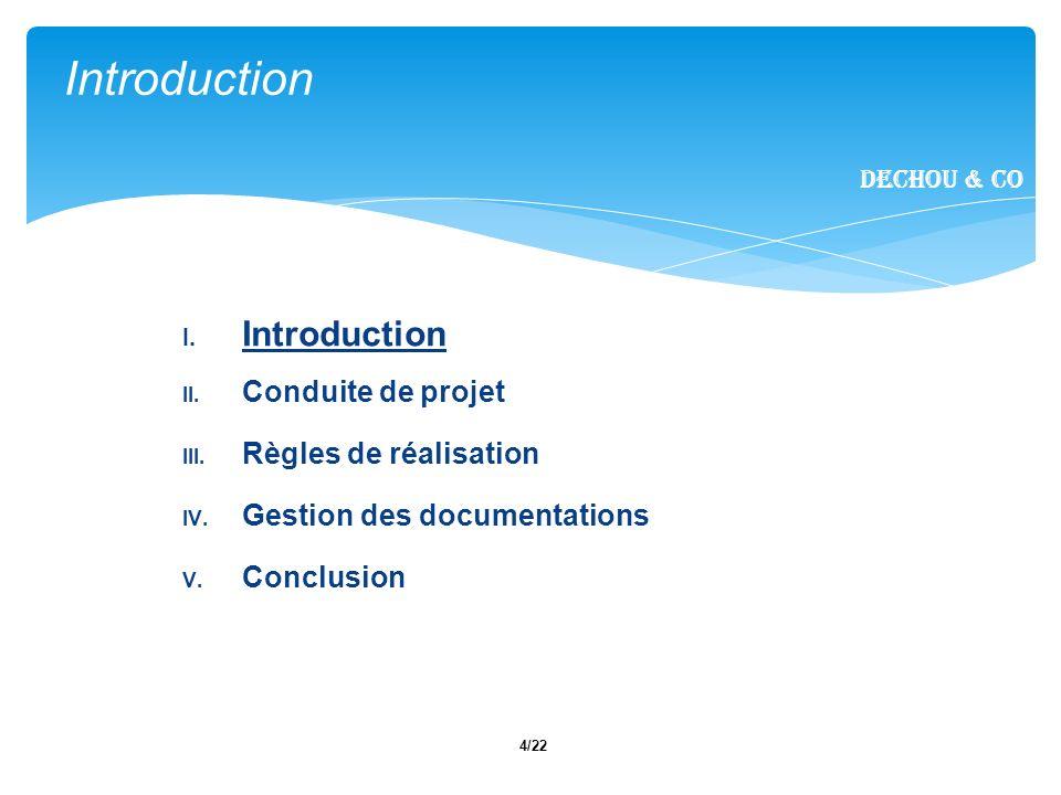 Introduction Introduction Conduite de projet Règles de réalisation