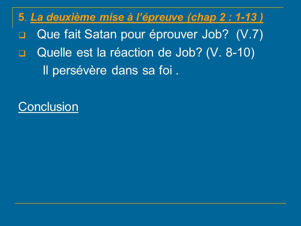 Que fait Satan pour éprouver Job (V.7)