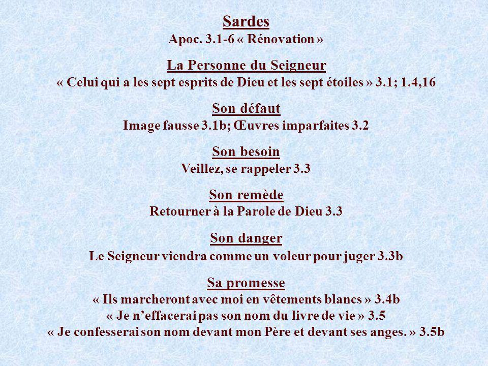 Sardes Apoc. 3.1-6 « Rénovation »
