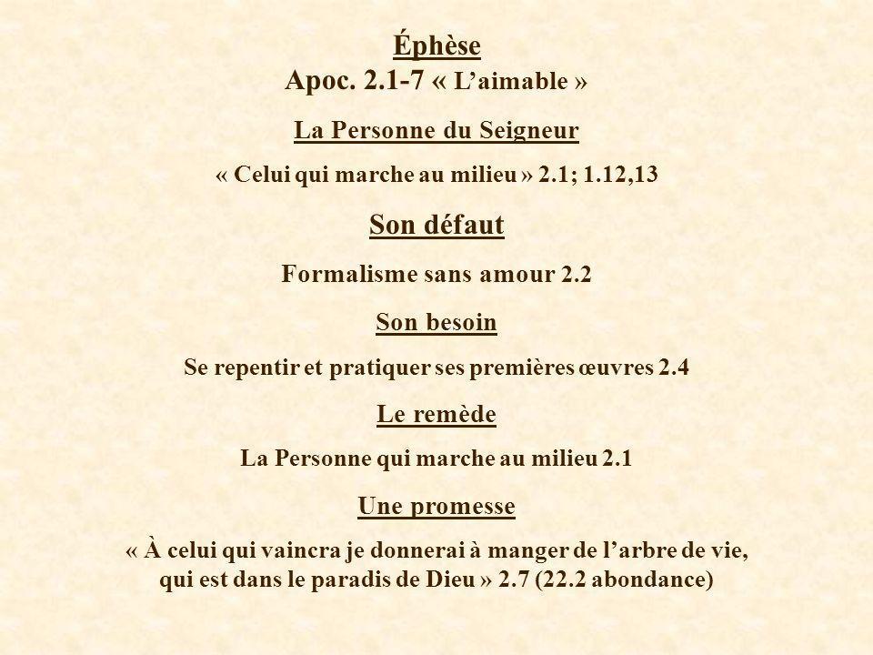 Éphèse Apoc. 2.1-7 « L'aimable » Son défaut