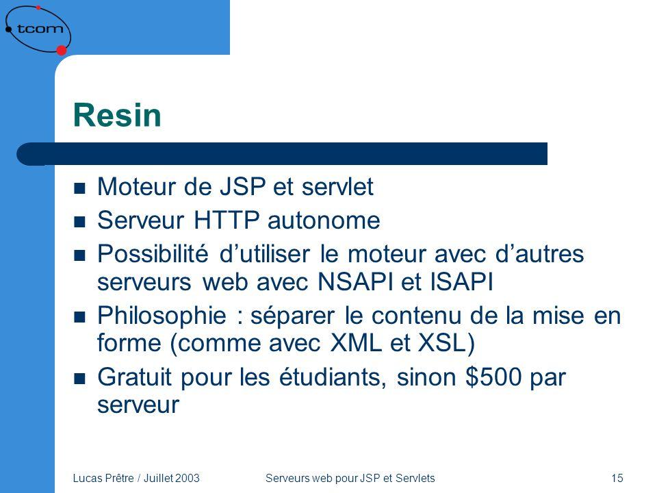 Resin Moteur de JSP et servlet Serveur HTTP autonome