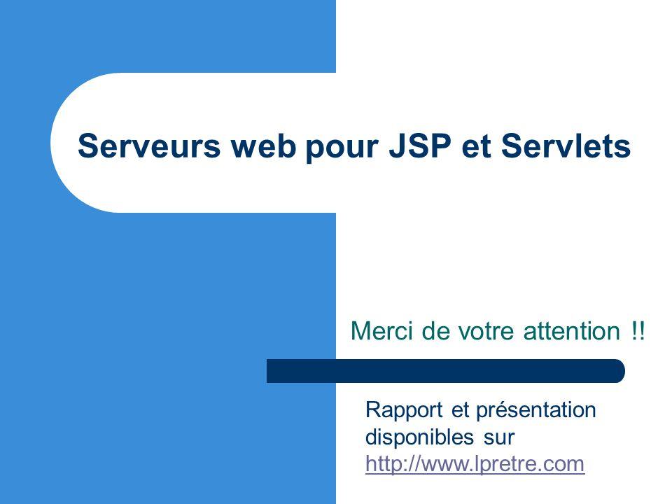 Serveurs web pour JSP et Servlets