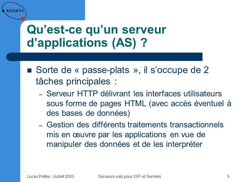 Qu'est-ce qu'un serveur d'applications (AS)