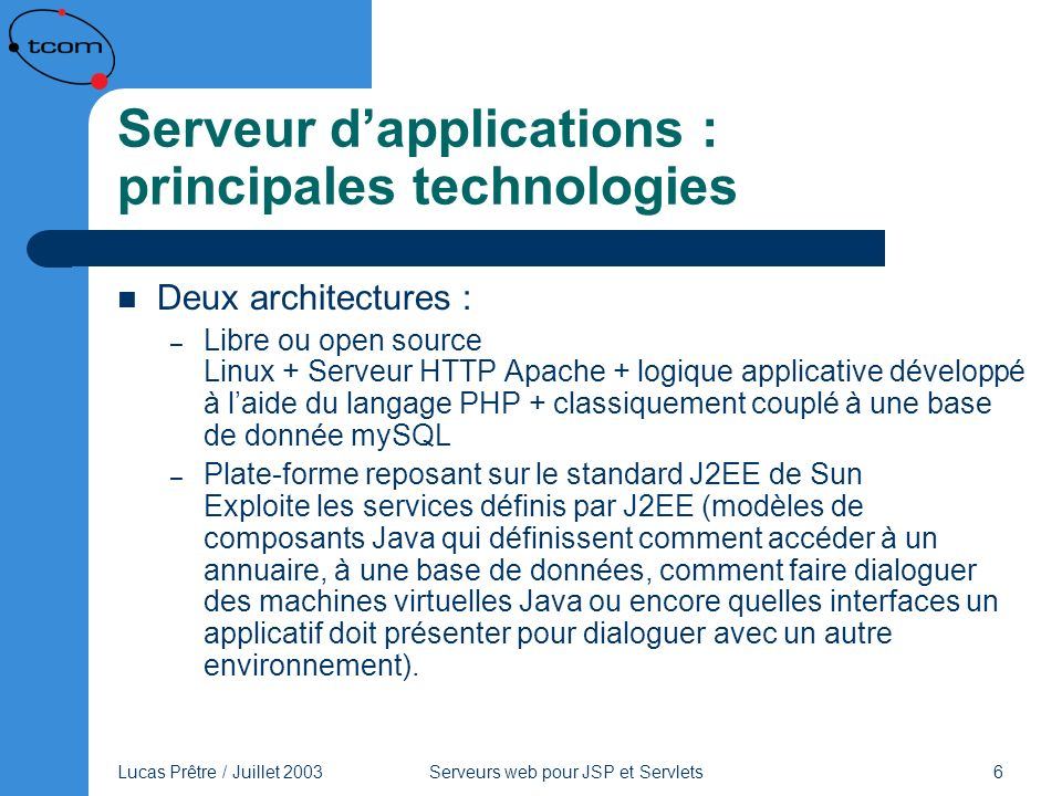 Serveur d'applications : principales technologies