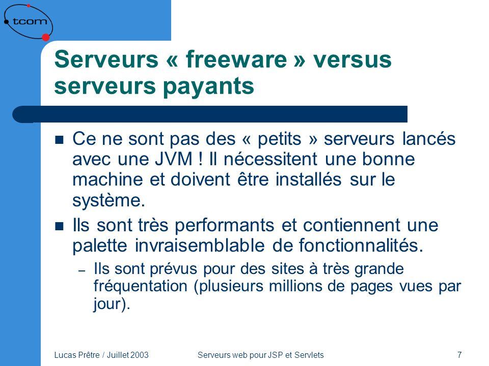 Serveurs « freeware » versus serveurs payants