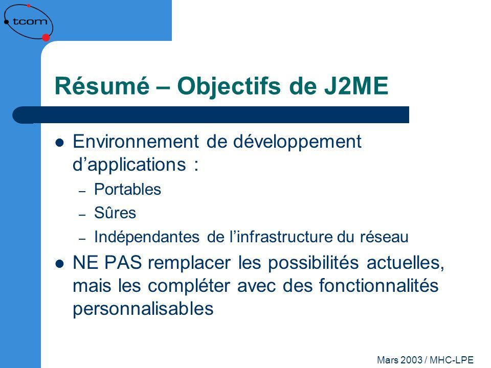 Résumé – Objectifs de J2ME