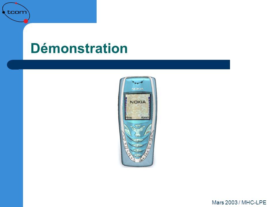 Démonstration Mars 2003 / MHC-LPE