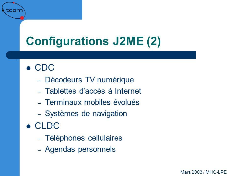 Configurations J2ME (2) CDC CLDC Décodeurs TV numérique
