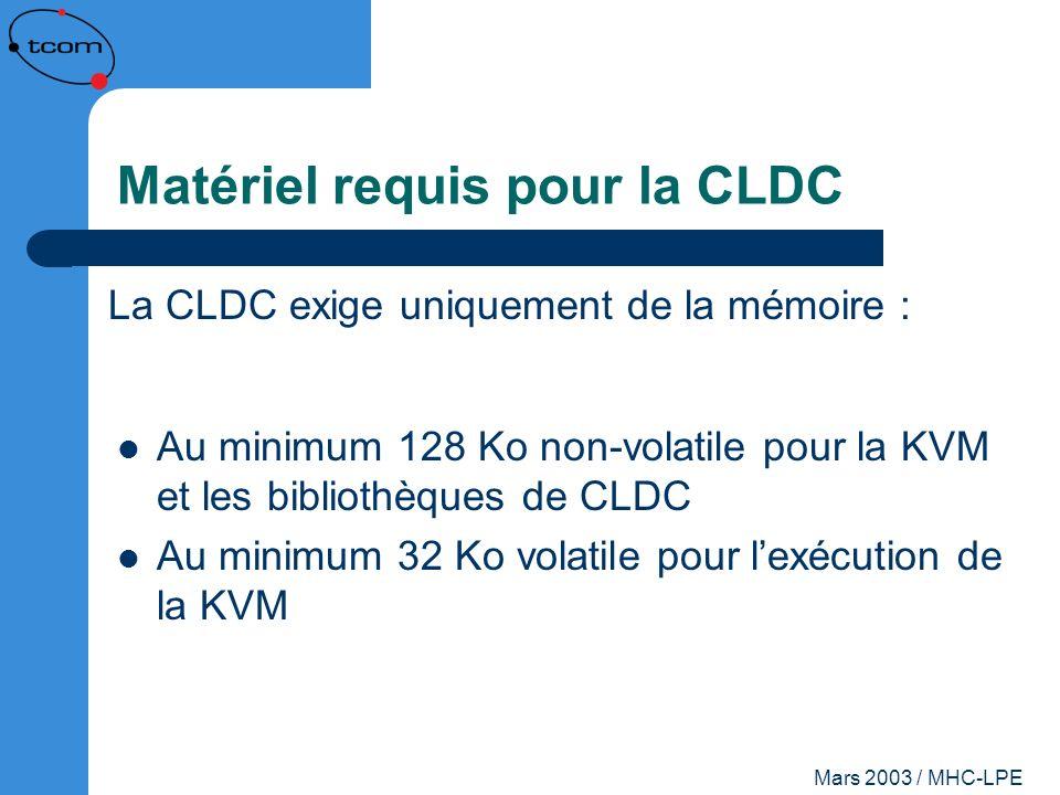 Matériel requis pour la CLDC