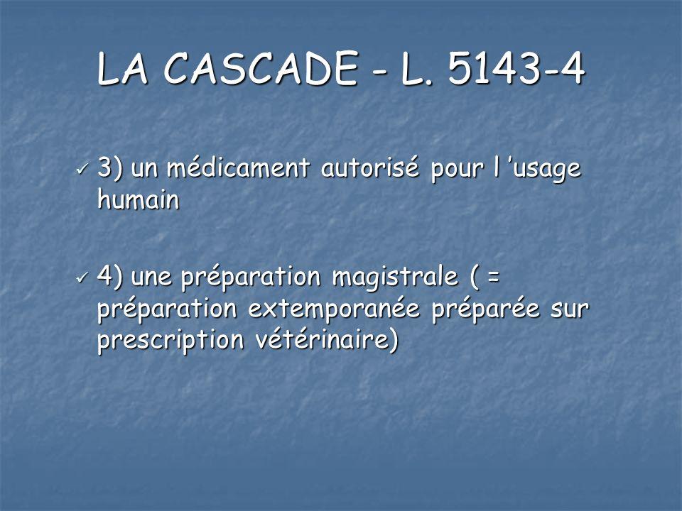 LA CASCADE - L. 5143-4 3) un médicament autorisé pour l 'usage humain