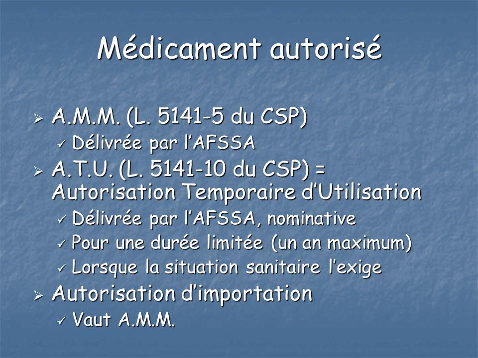 Médicament autorisé A.M.M. (L. 5141-5 du CSP)