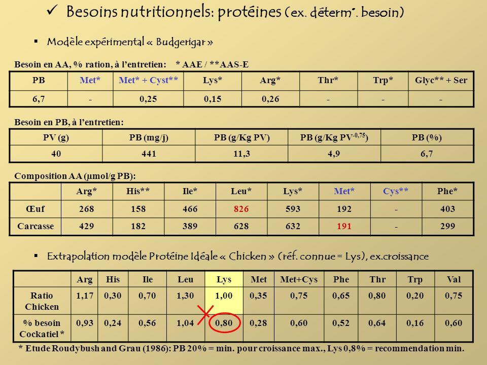 Besoins nutritionnels: protéines (ex. déterm°. besoin)