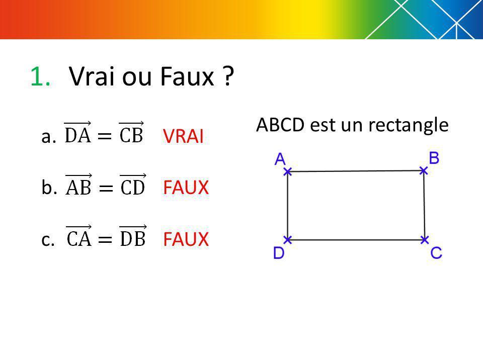 Vrai ou Faux ABCD est un rectangle a. b. c. VRAI FAUX