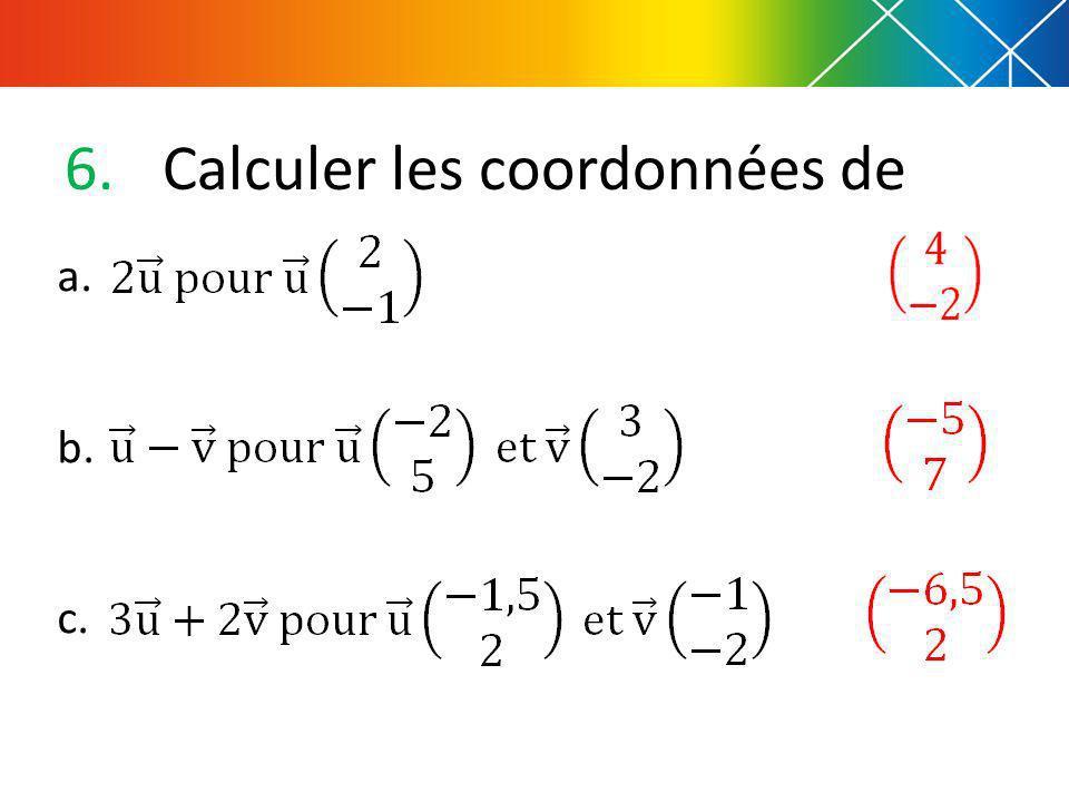 Calculer les coordonnées de