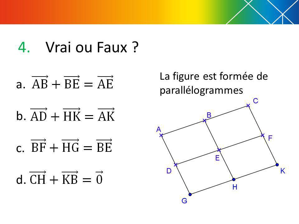 Vrai ou Faux La figure est formée de parallélogrammes a. b. c. d.
