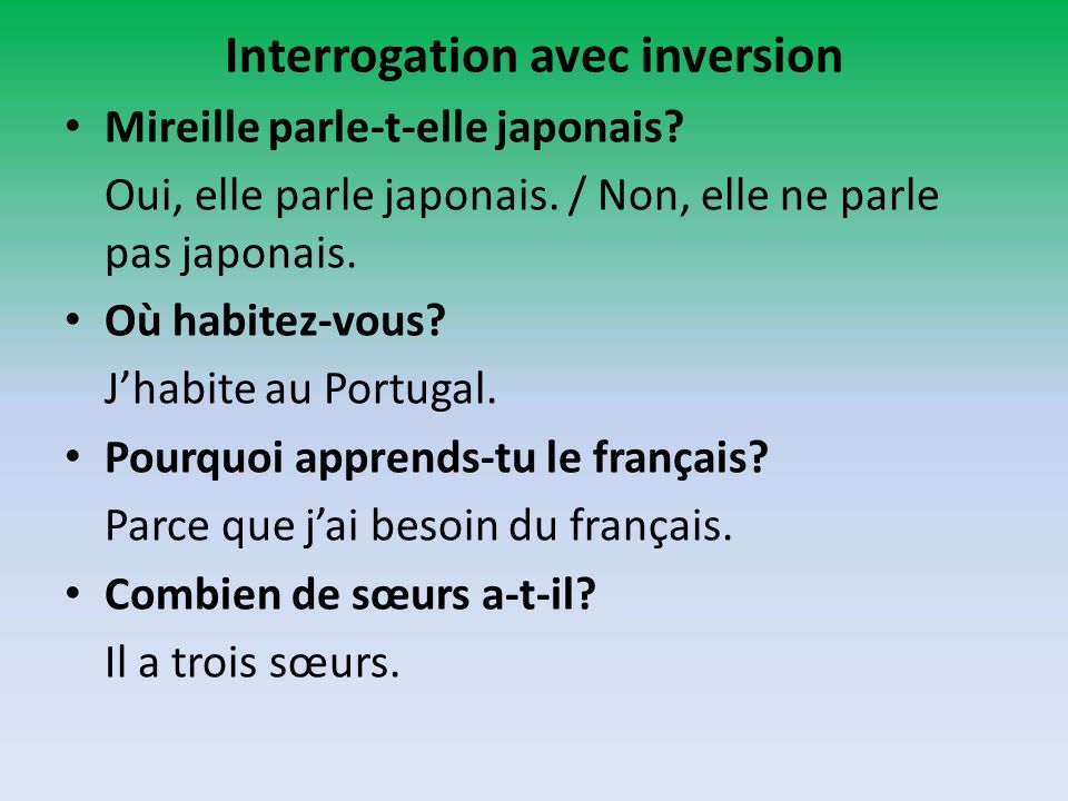 Interrogation avec inversion