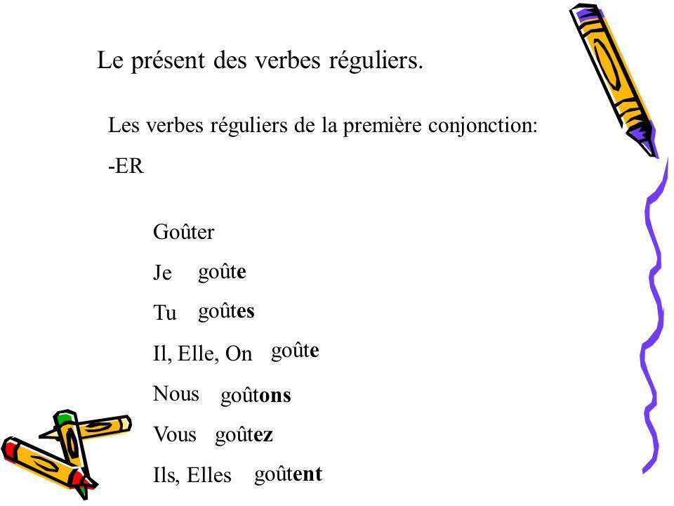 Le présent des verbes réguliers.