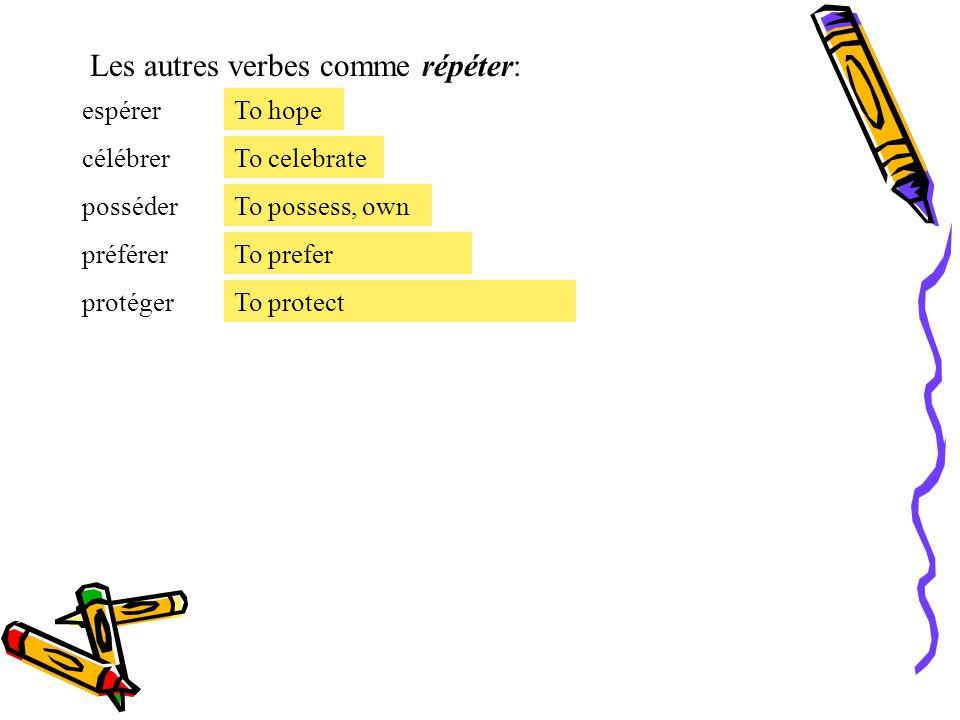 Les autres verbes comme répéter:
