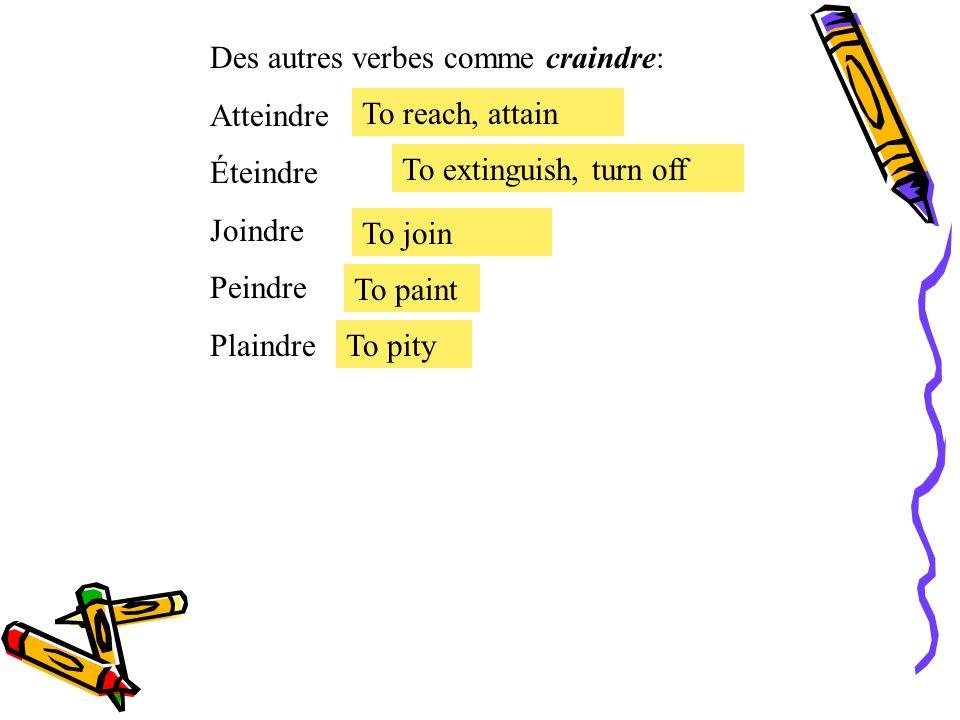 Des autres verbes comme craindre: