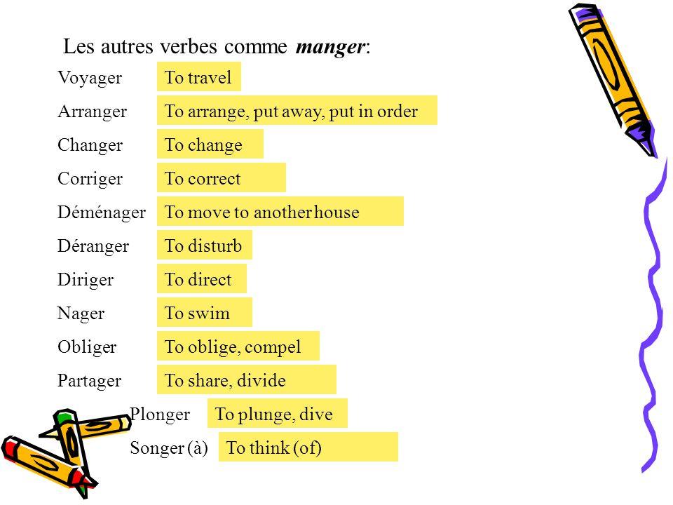 Les autres verbes comme manger:
