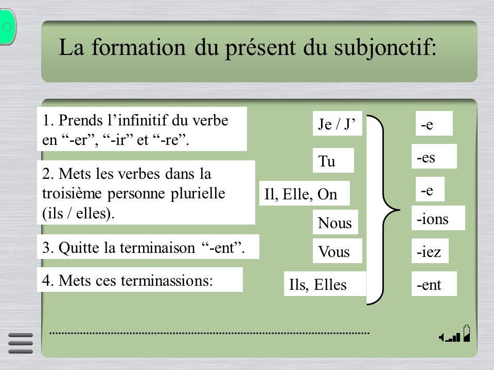 La formation du présent du subjonctif: