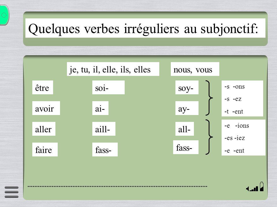 Quelques verbes irréguliers au subjonctif: