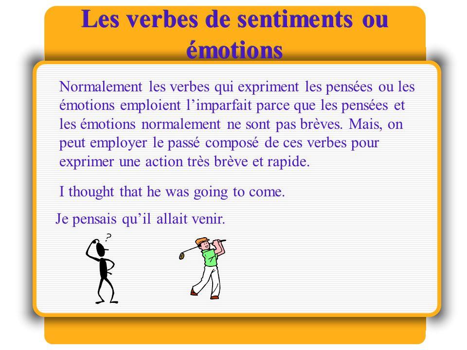 Les verbes de sentiments ou émotions