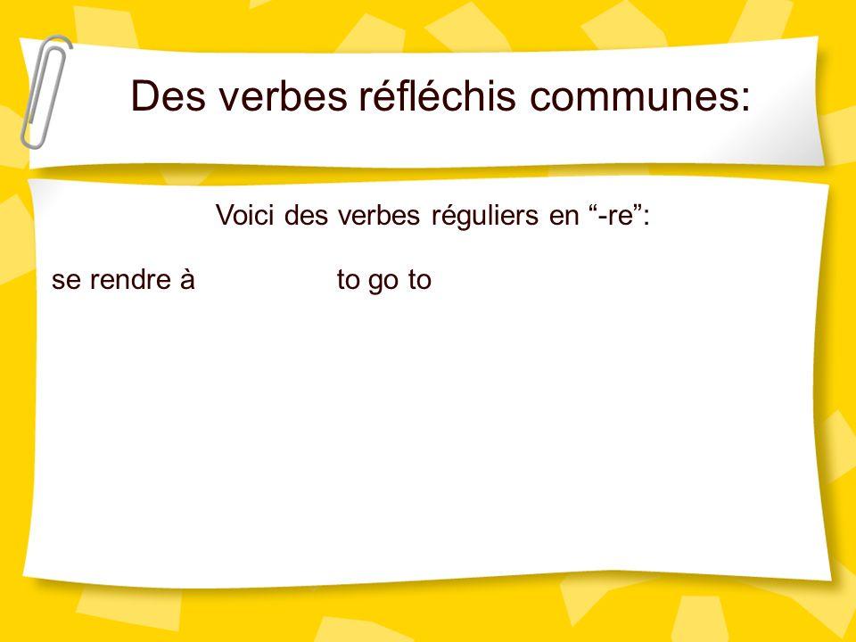 Des verbes réfléchis communes:
