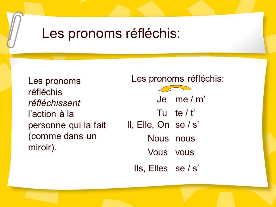 Les pronoms réfléchis: