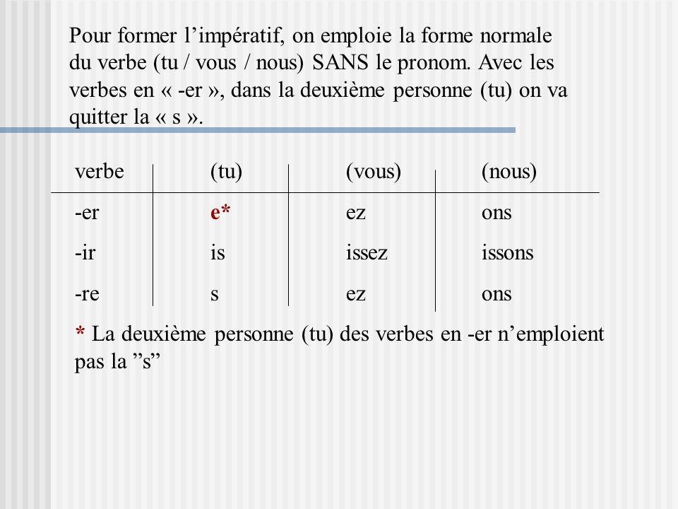 Pour former l'impératif, on emploie la forme normale du verbe (tu / vous / nous) SANS le pronom. Avec les verbes en « -er », dans la deuxième personne (tu) on va quitter la « s ».