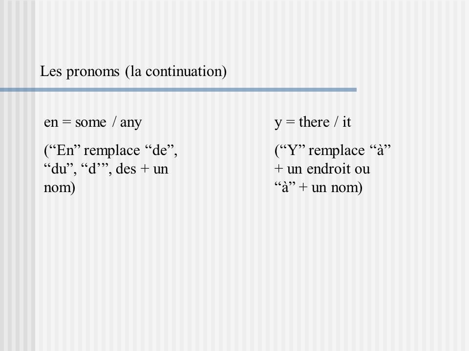 Les pronoms (la continuation)