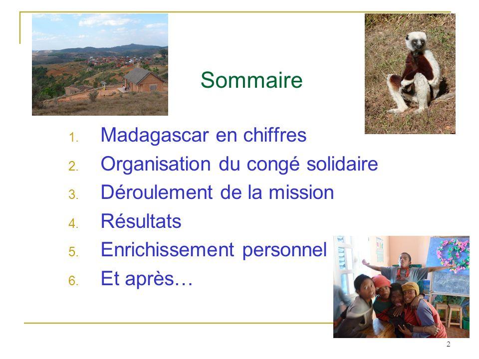 Sommaire Madagascar en chiffres Organisation du congé solidaire