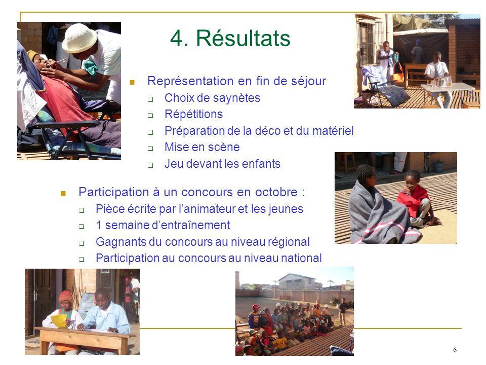 4. Résultats Représentation en fin de séjour