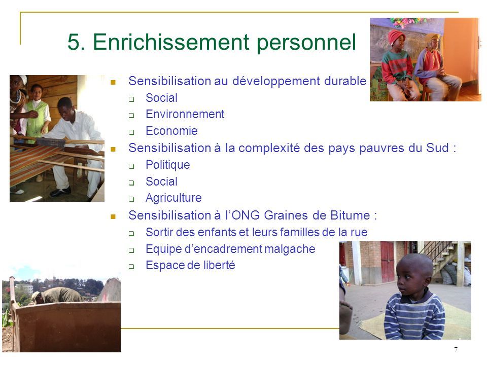 5. Enrichissement personnel