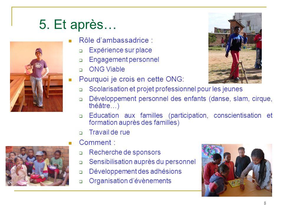 5. Et après… Rôle d'ambassadrice : Pourquoi je crois en cette ONG: