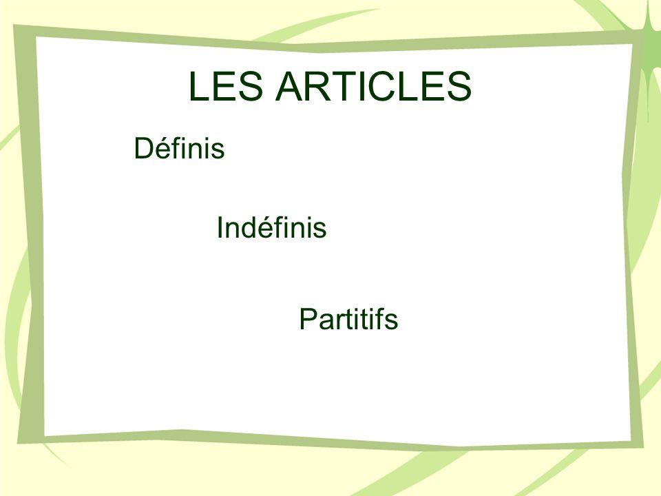 LES ARTICLES Définis Indéfinis Partitifs