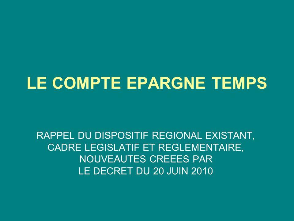 LE COMPTE EPARGNE TEMPS