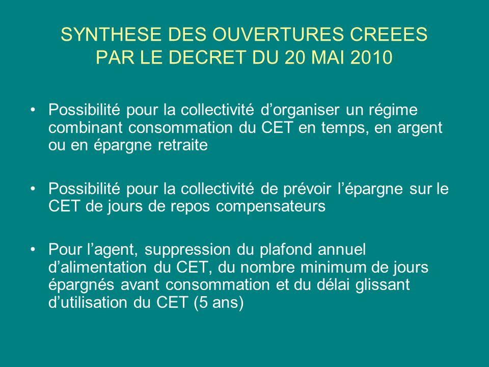 SYNTHESE DES OUVERTURES CREEES PAR LE DECRET DU 20 MAI 2010