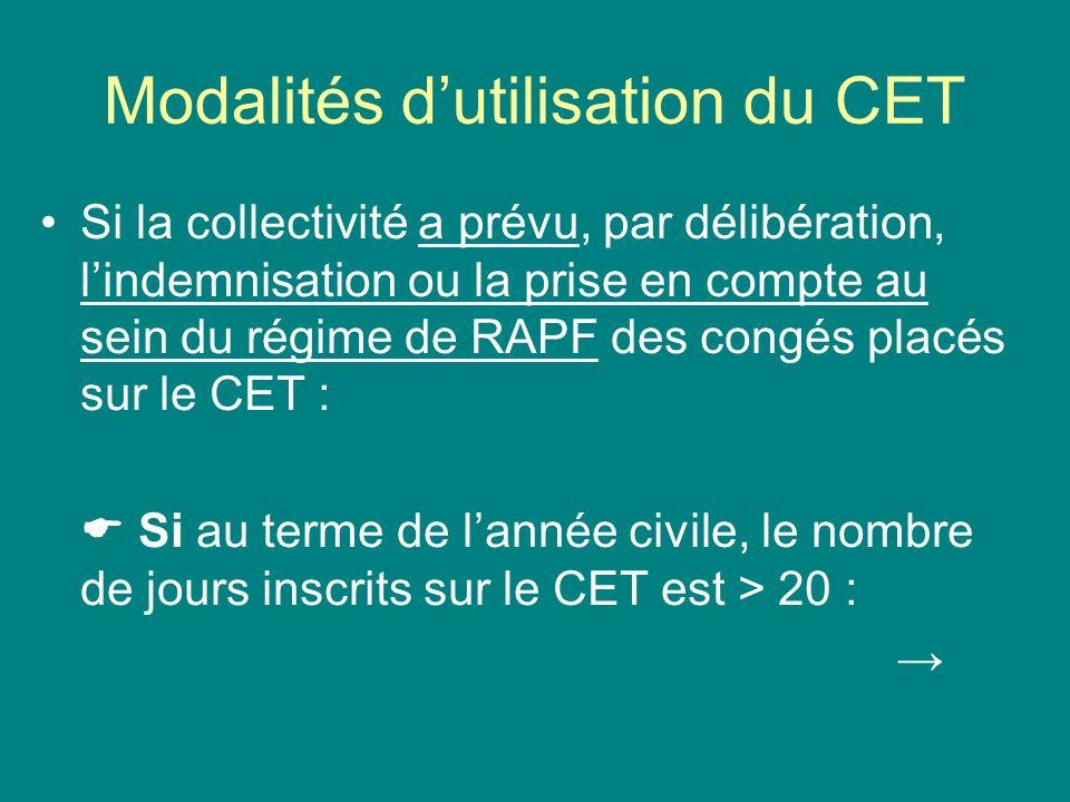 Modalités d'utilisation du CET
