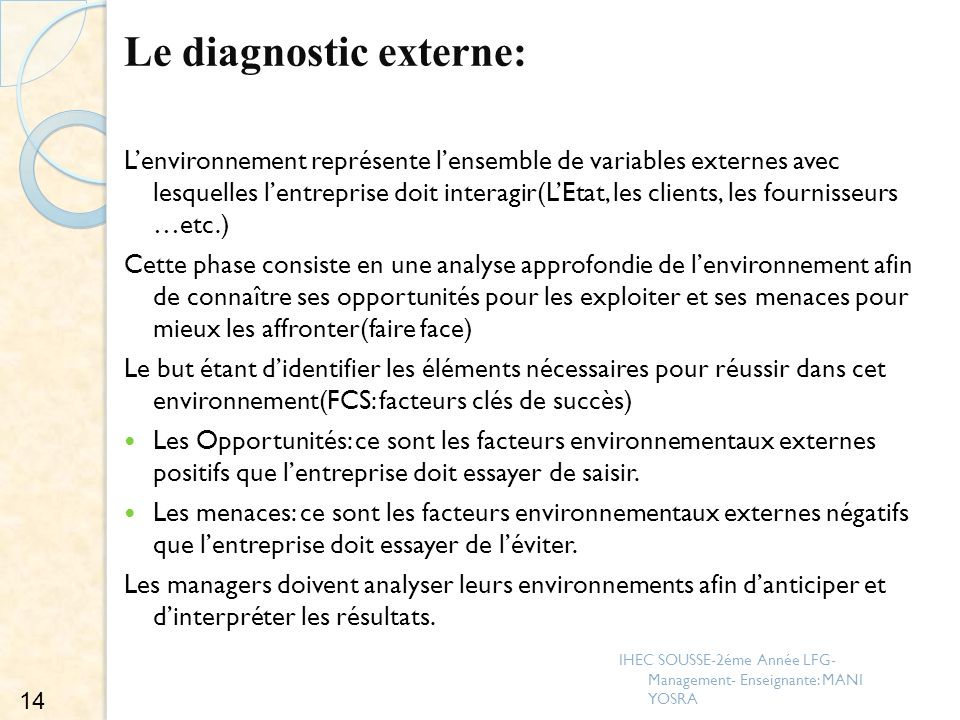 Le diagnostic externe: