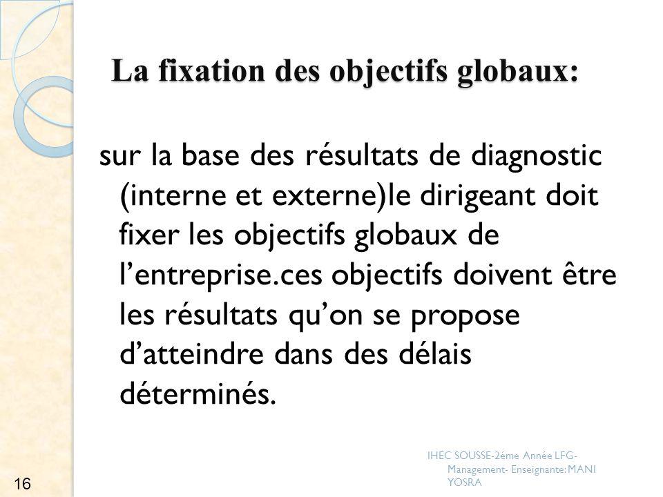 La fixation des objectifs globaux: