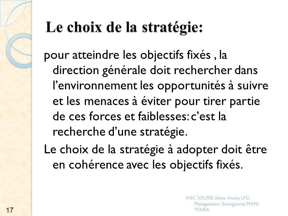 Le choix de la stratégie: