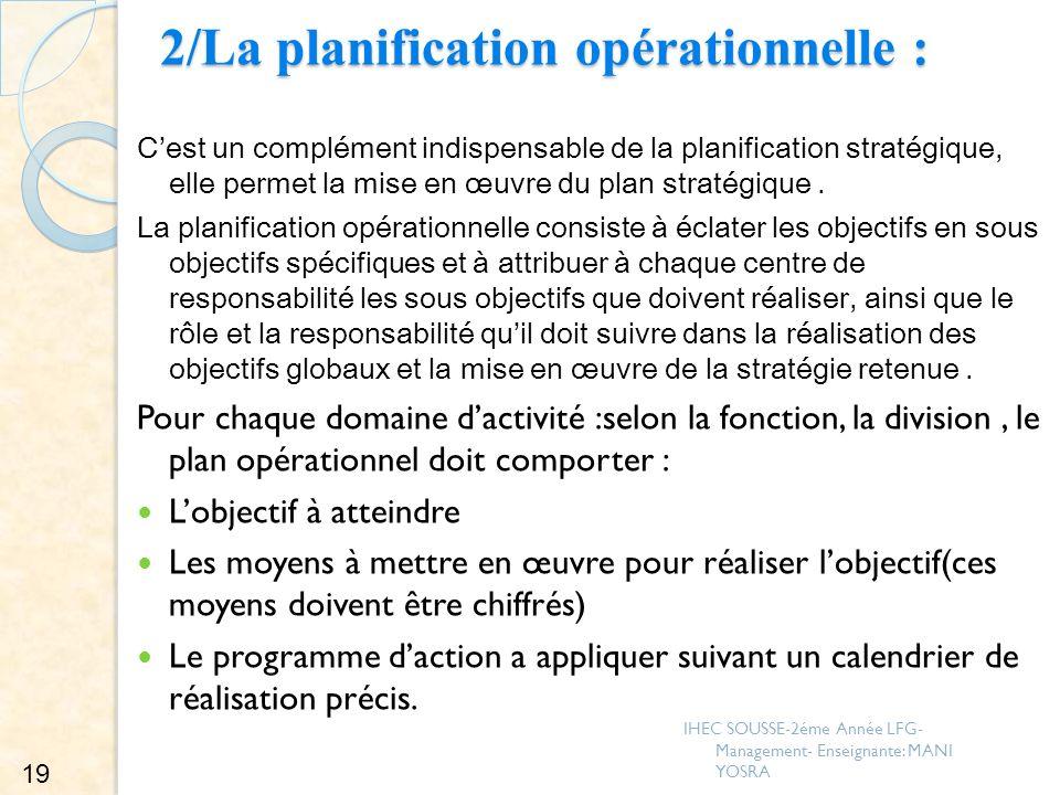 2/La planification opérationnelle :
