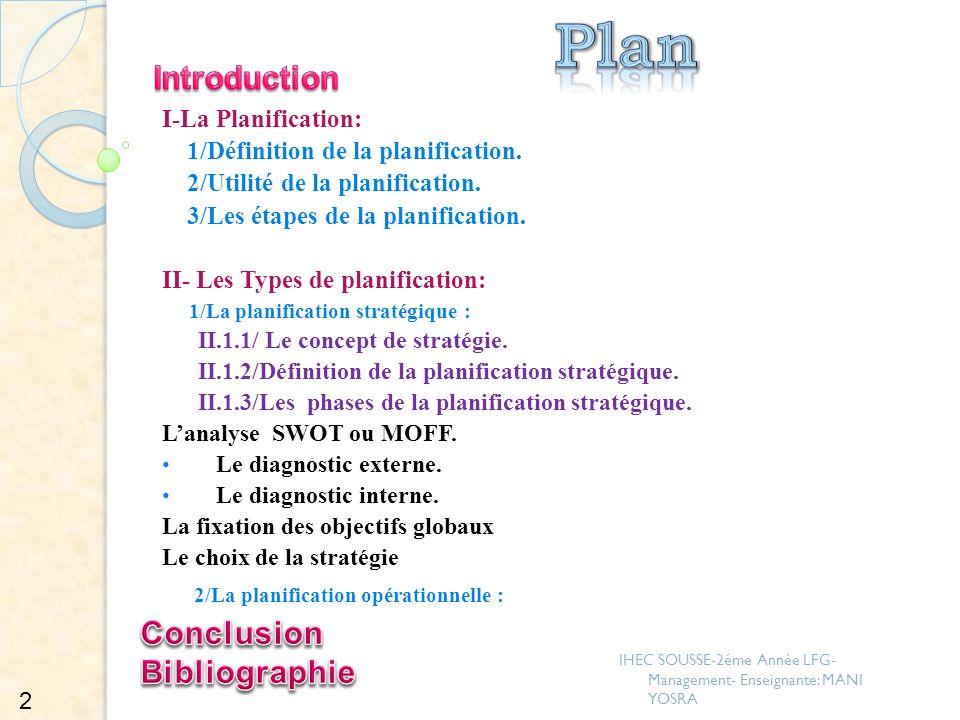 Plan Introduction 2/La planification opérationnelle : Conclusion