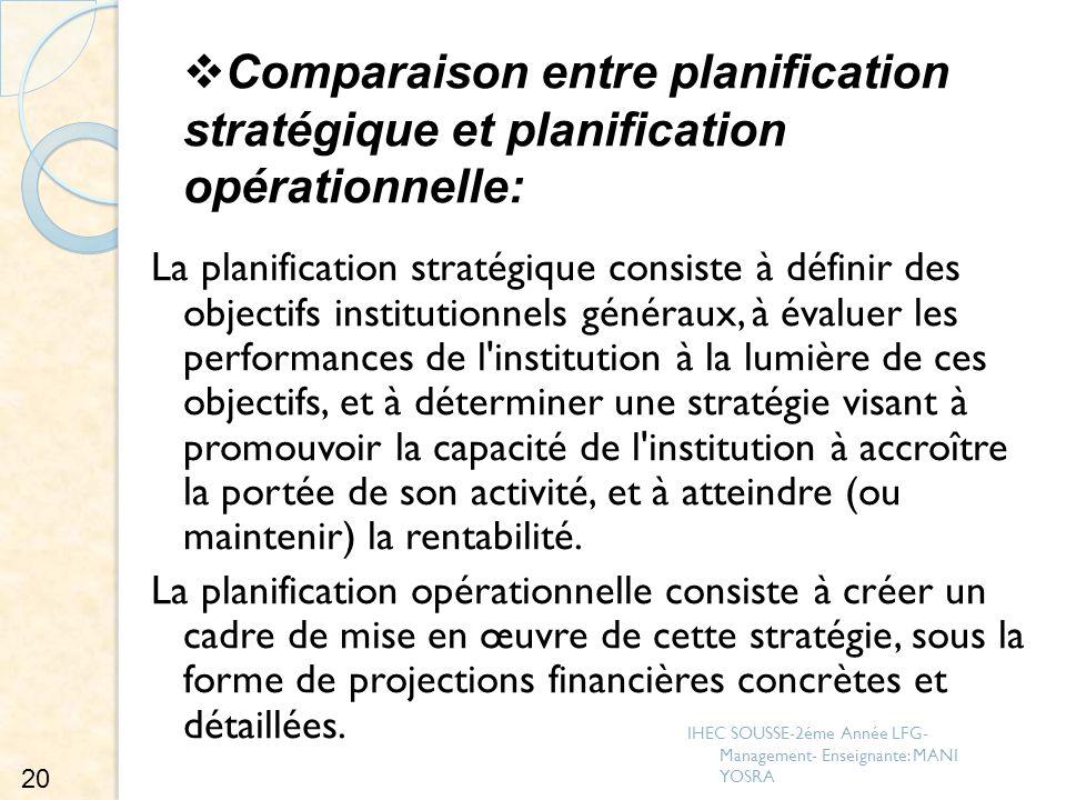 Comparaison entre planification stratégique et planification opérationnelle: