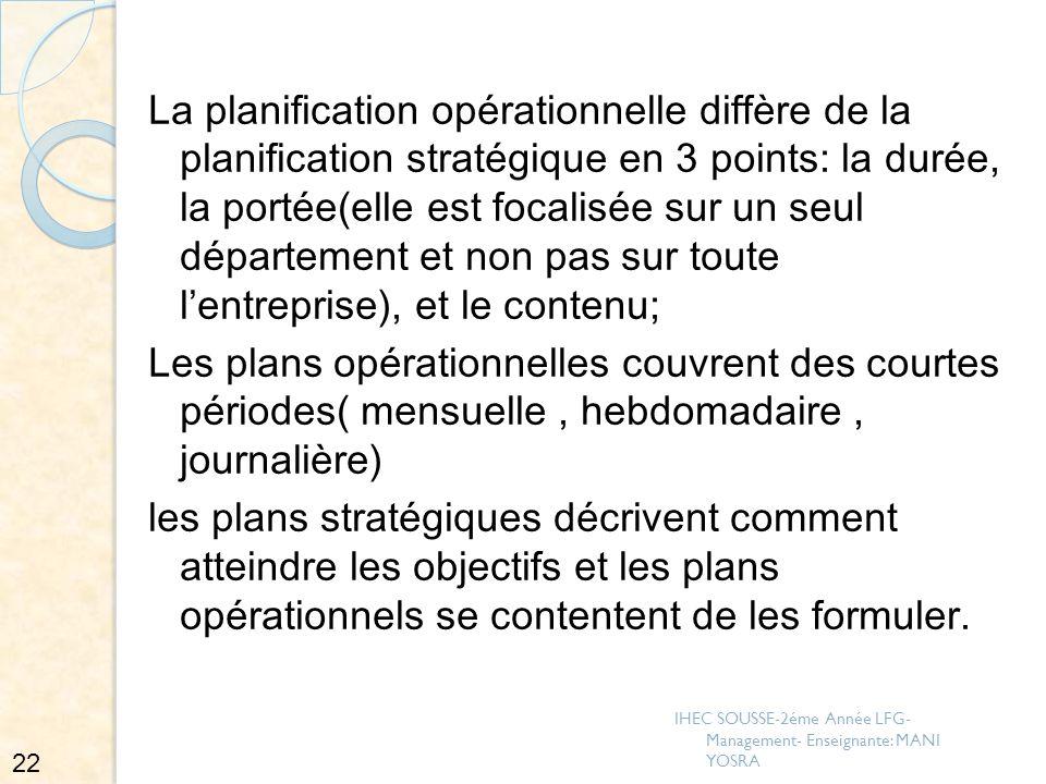 La planification opérationnelle diffère de la planification stratégique en 3 points: la durée, la portée(elle est focalisée sur un seul département et non pas sur toute l'entreprise), et le contenu;